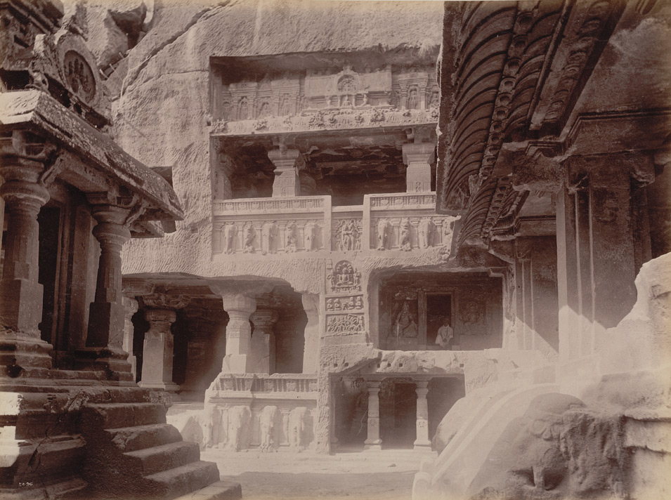 Side gallery Inder Sabha cave (from below) [Ellora]